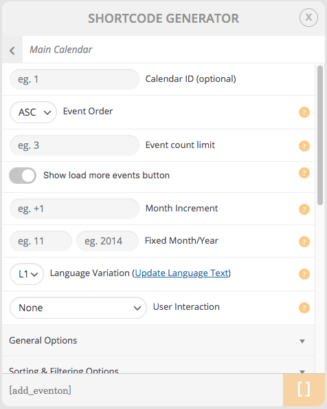 EventON - WordPress Event Calendar Plugin backend