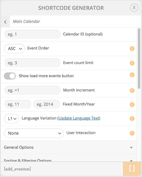 EventON - WordPress Event Calendar Plugin backend